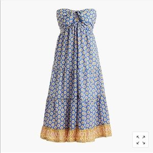 JCrew Tiered Strapless Dress in Block Print Floral